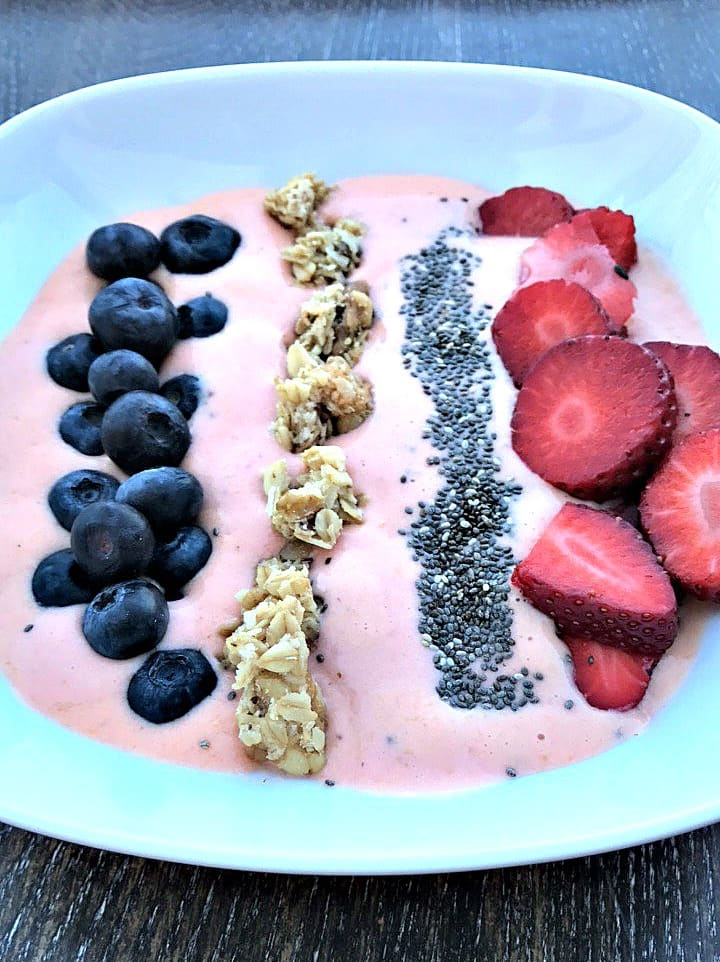 strawberry protein smoothie bowl