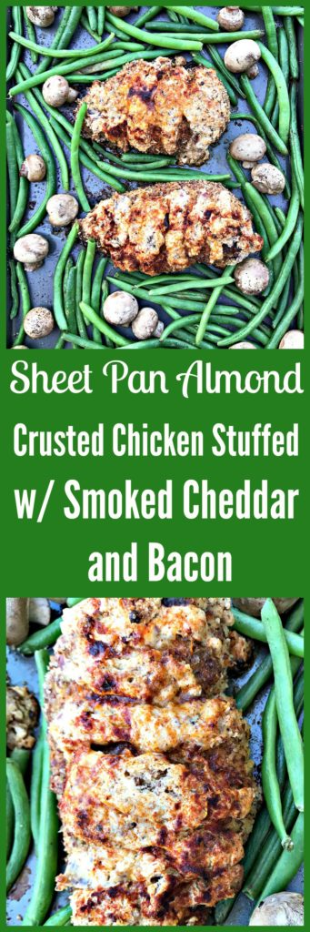 sheet pan almond crusted chicken stuffed with smoked cheddar and bacon