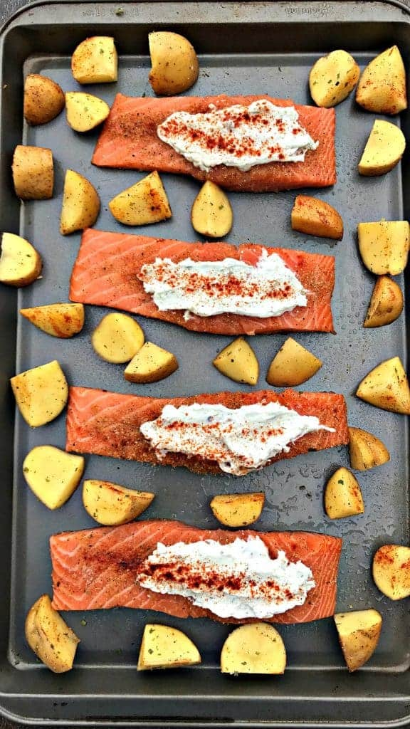 sheet pan garlic herb goat cheese stuffed salmon