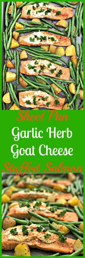 sheet pan garlic herb goat cheese stuffed salmon