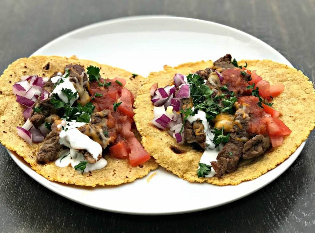Instant Pot 10-Minute Steak Tacos on a white plate