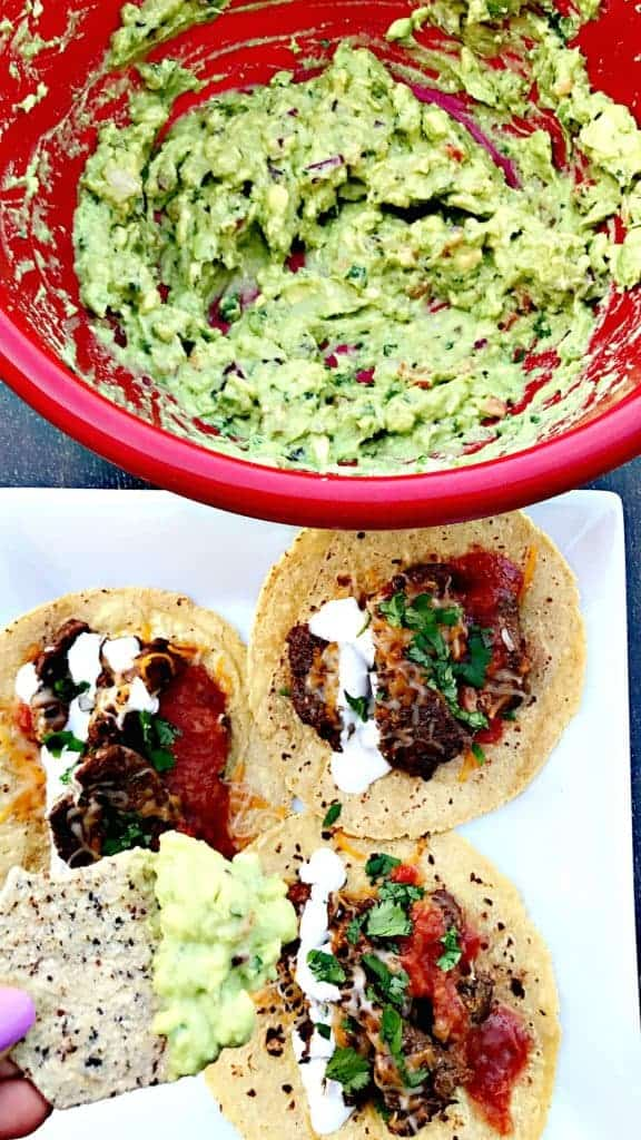 Instant Pot 10-Minute Steak Tacos (carne asada) with homemade guacamole and chips