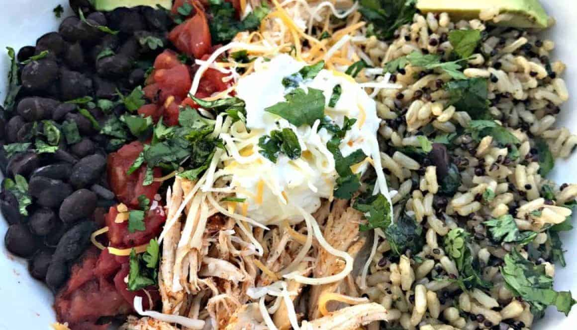 instant pot shredded chicken taco bowl quinoa brown rice