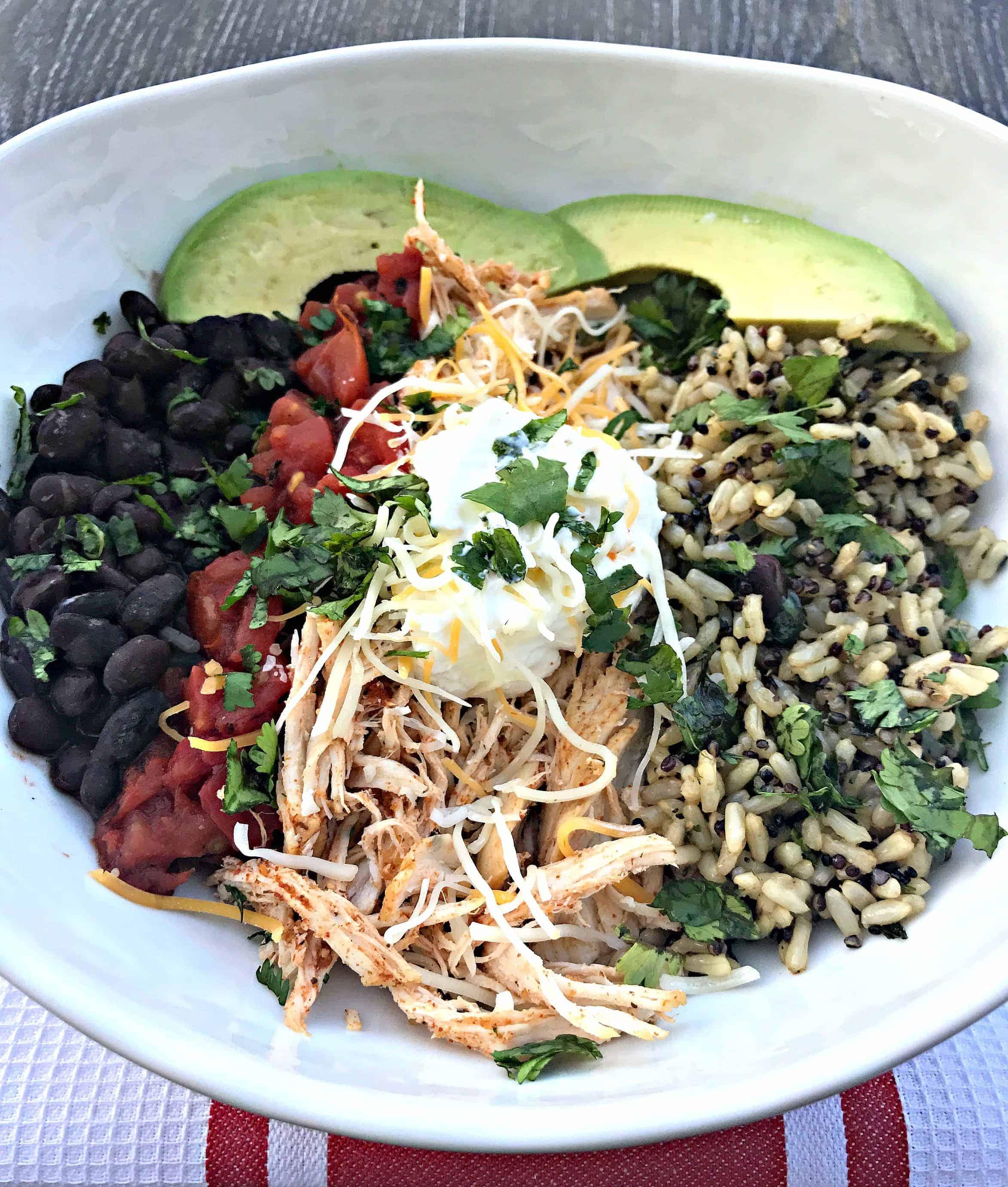 instant pot shredded chicken taco bowl quinoa brown rice