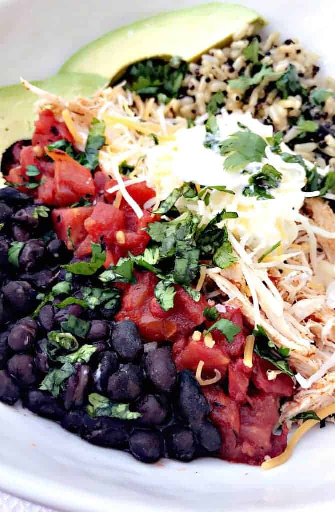 Instant Pot Shredded Chicken Taco Bowl with Cilantro Quinoa and Brown Rice