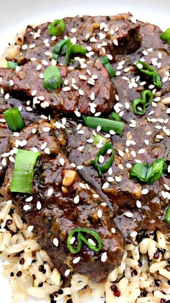 instant pot mongolian beef with quinoa and brown rice