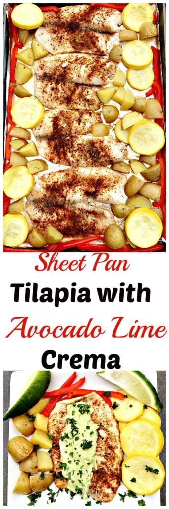 sheet pan tilapia avocado lime crema