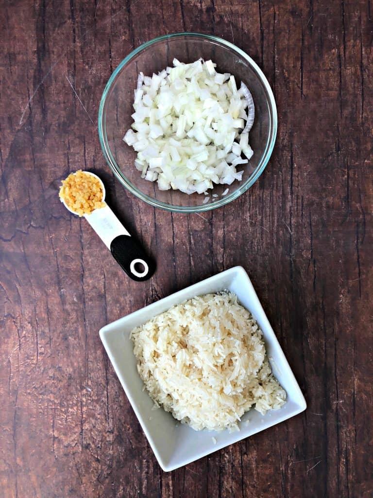 garlic, onions, and white rice