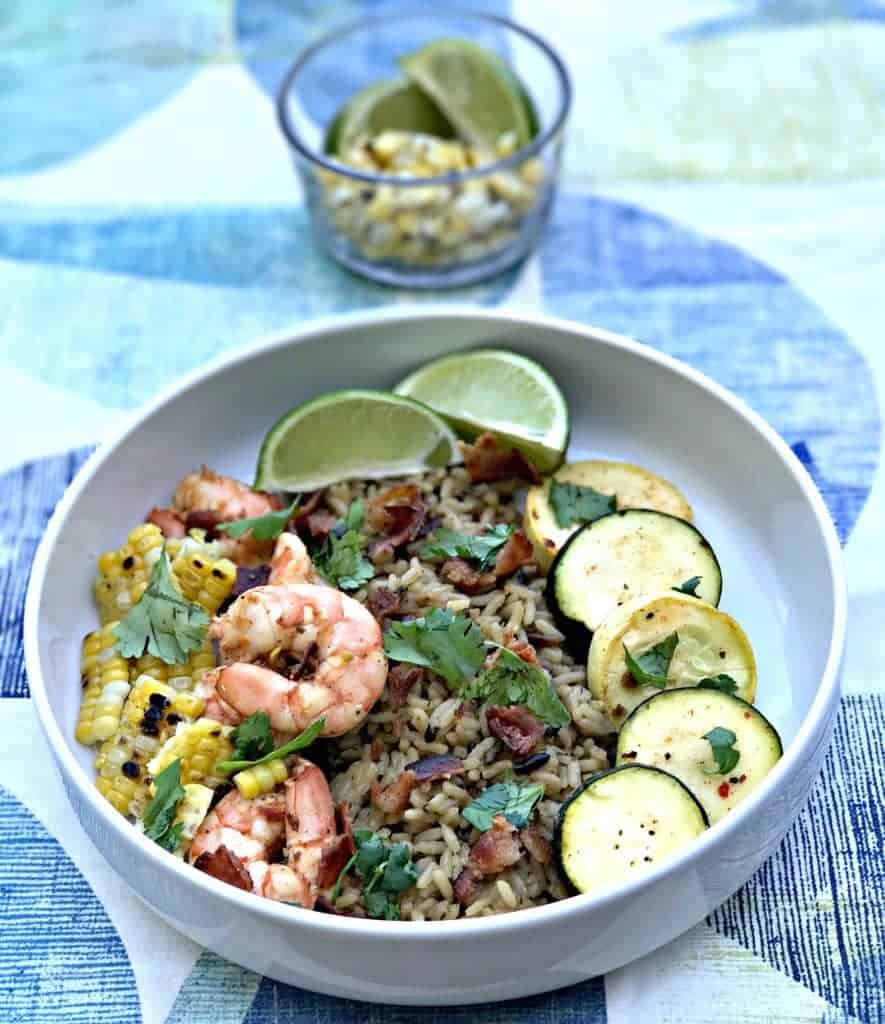 chipotle bacon bowl with grilled shrimp and veggies