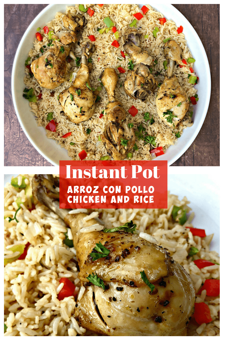 Instant Pot Chicken Drumsticks and Rice (Arroz Con Pollo) is a quick and easy 45-minute pressure cooker recipe with Cuban seasonings and Spanish rice. This recipe is perfect for weeknight dinners or advanced meal prep. #InstantPot #InstantPotRecipes #InstantPotChicken