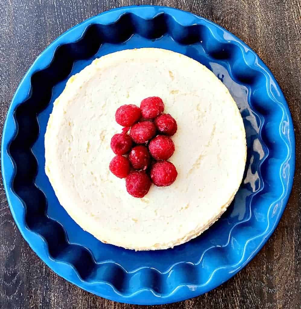 instant pot no-bake cheesecake in a blue pan
