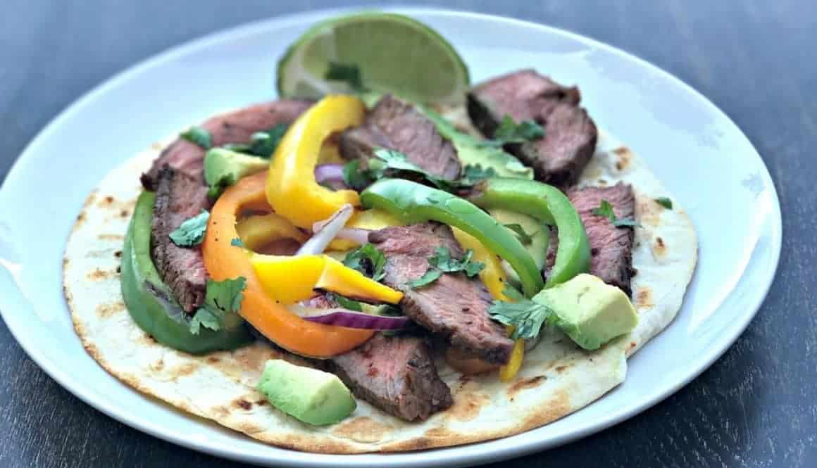 skinny flame grilled steak fajitas