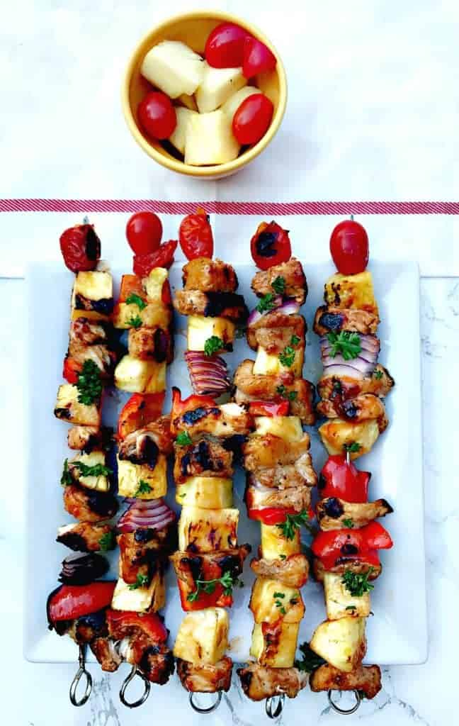 Hawaiian pineapple chicken skewers