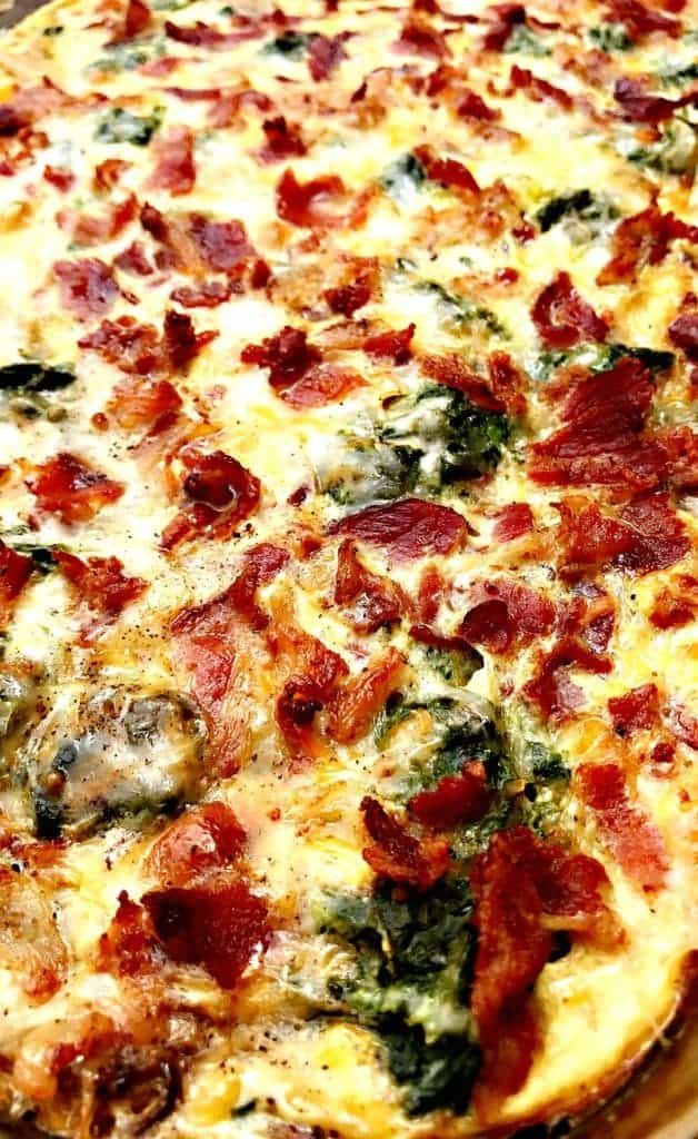 close up photo of Low-Carb Bacon, Egg, and Spinach Breakfast Casserole