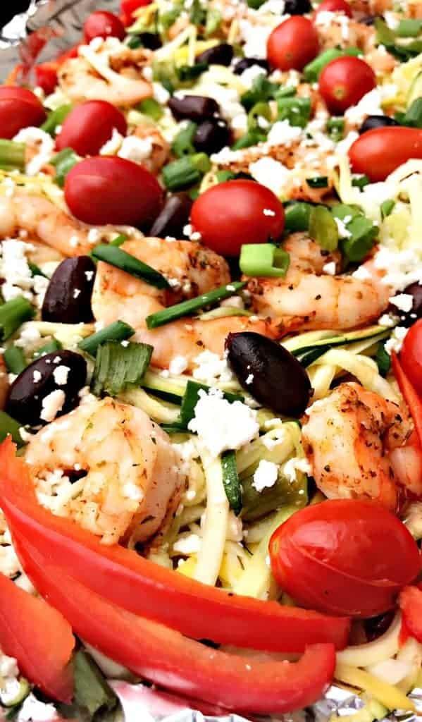 sheet pan Mediterranean shrimp with zucchini noodles