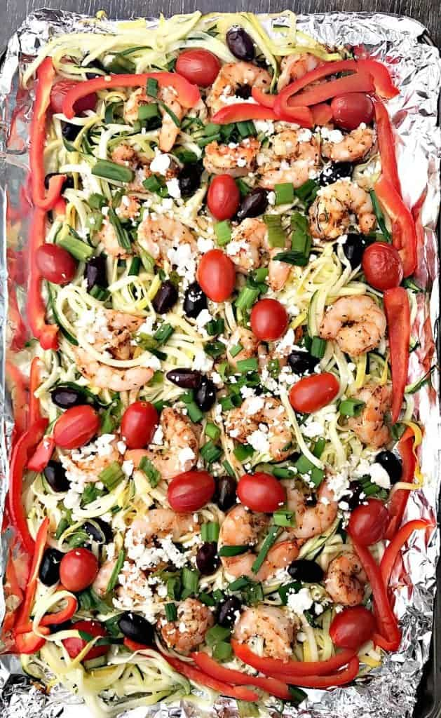 Sheet-Pan Mediterranean Shrimp with Zucchini Noodles