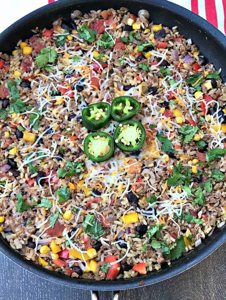 Beef Taco One-Skillet Meal with Quinoa and Brown Rice