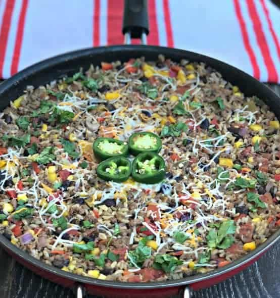 beef taco rice one skillet meal with quinoa and brown rice