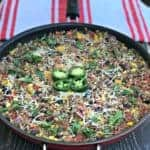 beef taco quinoa and brown rice in a skillet