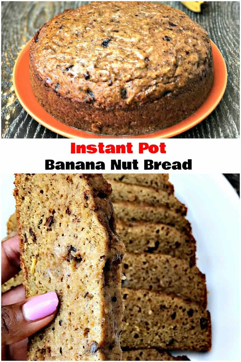 Easy, Instant Pot Low-Carb Banana Nut Bread is a quick pressure cooker recipe for homemade, healthy dessert with fruit. This bread is soft, moist, and delicious. You can even spread it with butter and serve it for breakfast! #InstantPot #InstantPotRecipes #BananaBread
