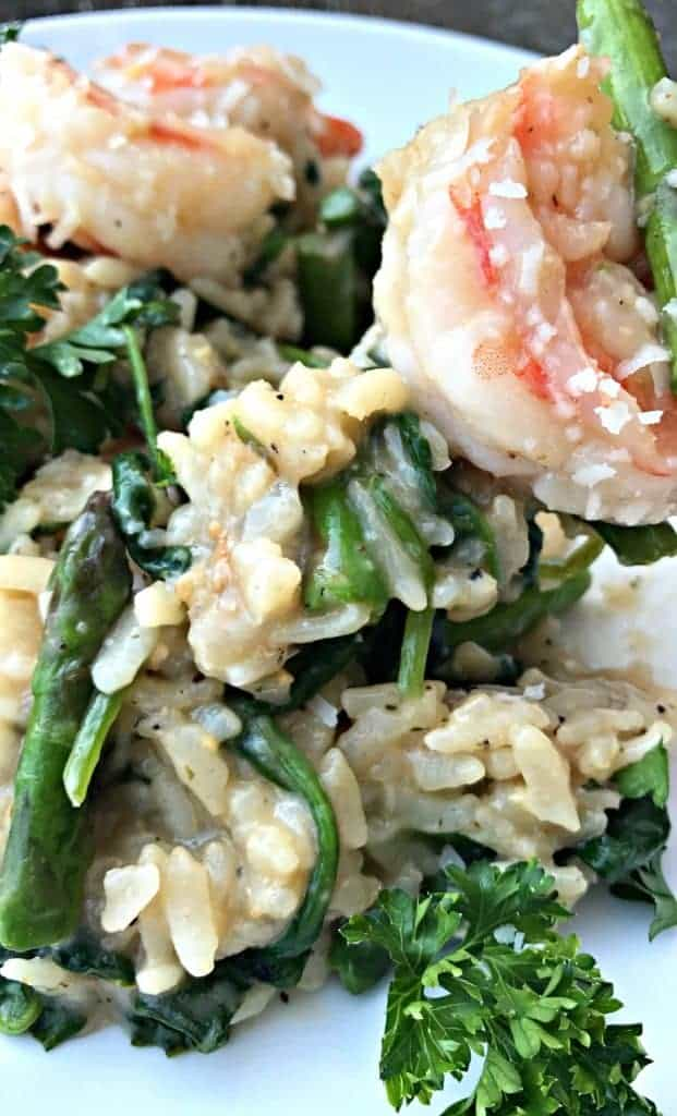 Instant Pot Lemon Shrimp Risotto with Vegetables and Parmesan