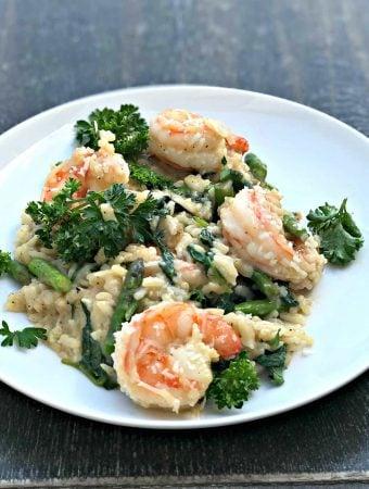 Instant Pot Lemon Shrimp Risotto with Vegetables and Parmesan