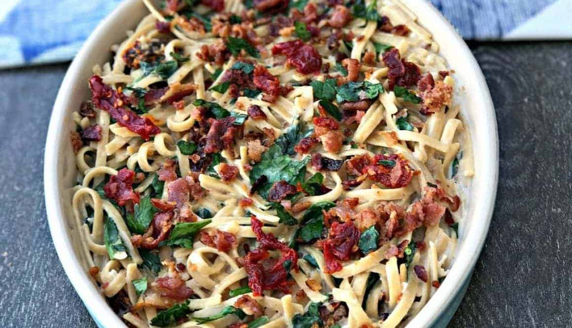 Bacon, Egg, and Spinach Whole Wheat Breakfast Pasta