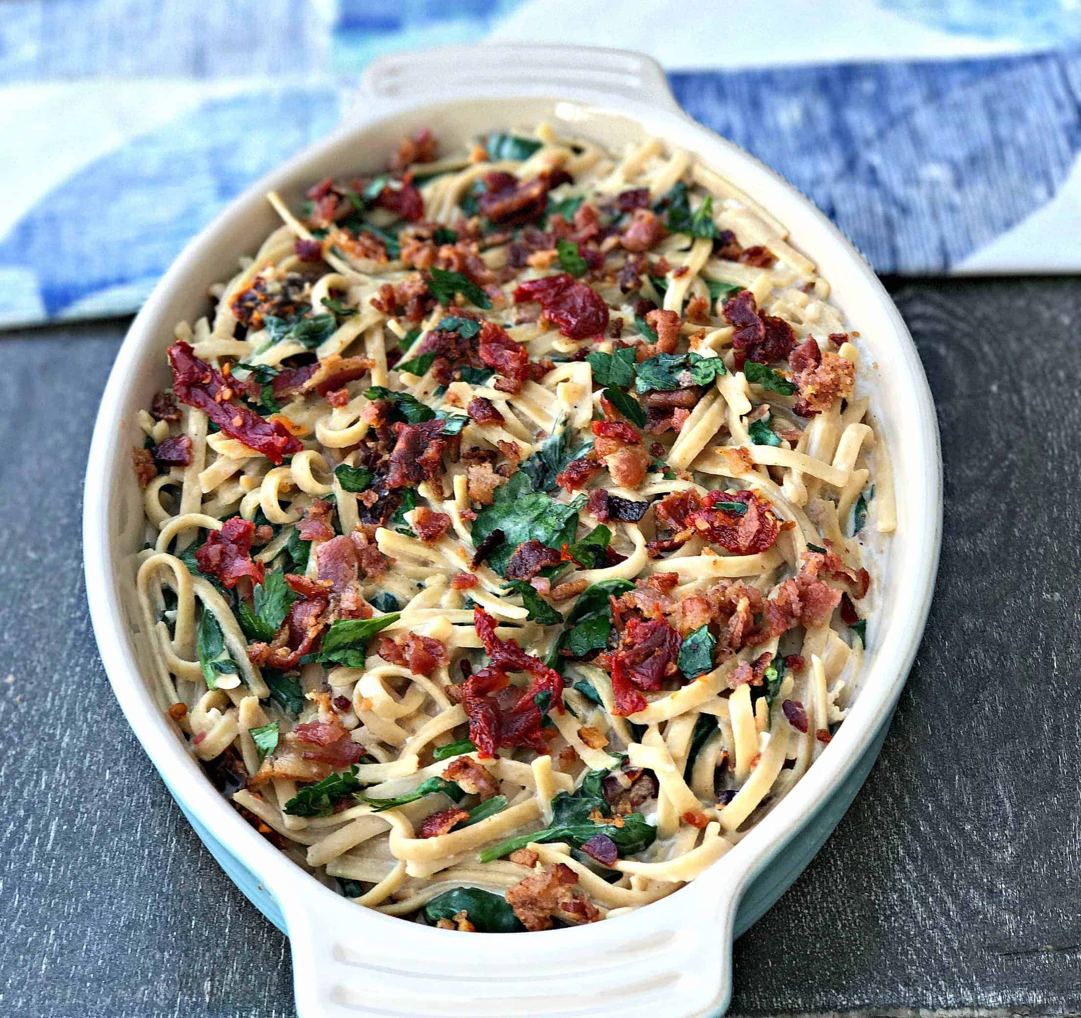 Bacon, Egg, and Spinach Whole Wheat Breakfast Pasta in a baking dish