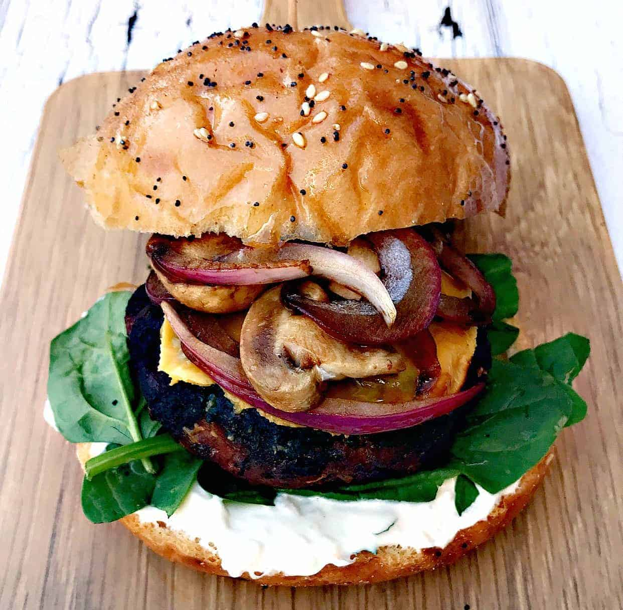 Truffle Oil Mushroom Onion Burger on a cutting board