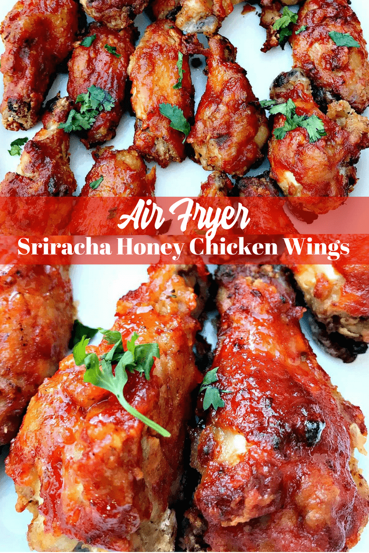Air Fryer Sriracha Honey Bourbon Fried Chicken Wings is a low-carb and low-fat meal that is spicy and loaded with seasonings. #AirFryer #AirFryerRecipes #ChickenWings #Sriracha