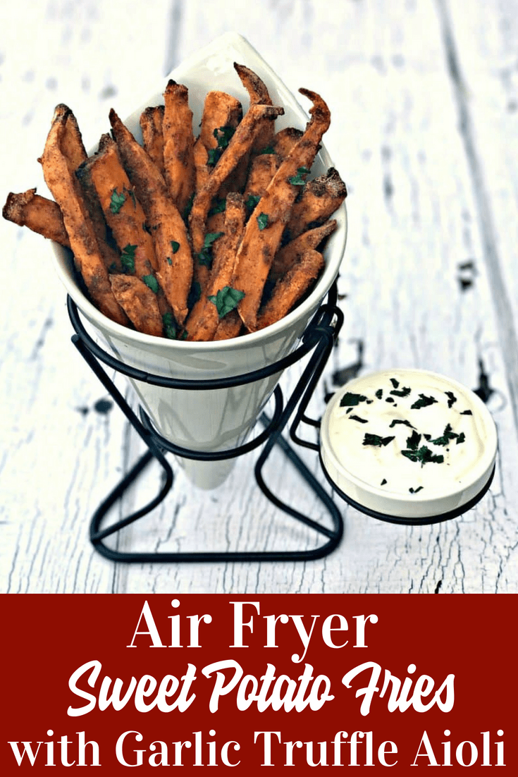 Air Fryer Crispy Crunchy Sweet Potato Fries are healthy fried sweet potato french fries that are low in fat and perfect for guilt-free meals. #AirFryer #AirFryerRecipes