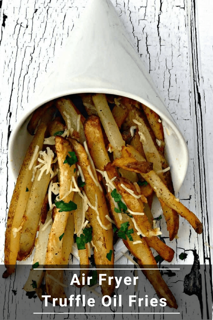Air Fryer Parmesan Truffle Oil Fries are a low-fat, quick and easy recipe for crispy, crunchy french fries with parmesan cheese. #AirFryer #AirFryerRecipes #AirFryerFries