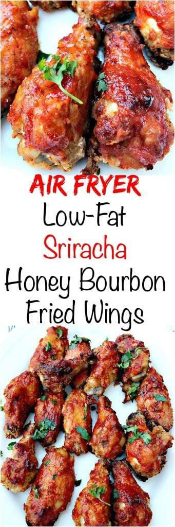 air fryer sriracha honey bourbon fried chicken wings