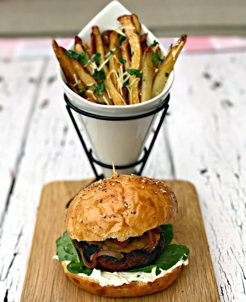 Truffle Oil Mushroom Onion Grilled Burger