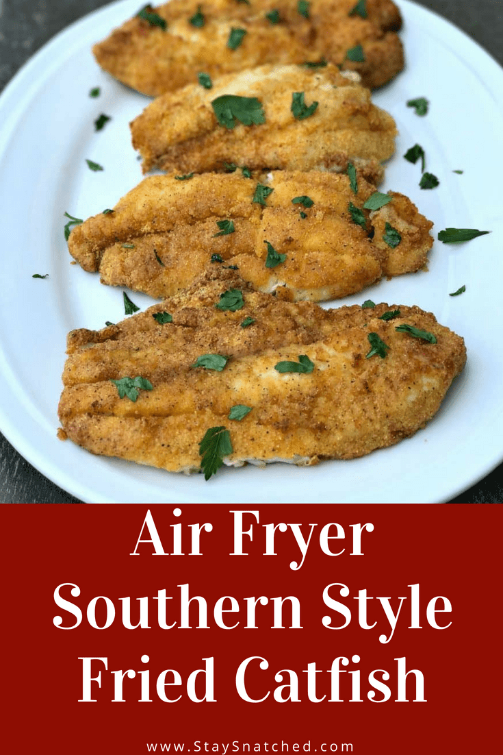 Air Fryer 3 Ingredient Fried Catfish is a quick and easy low-calorie, low-fat and low-carb recipe. This recipe is crispy and crunchy! #AirFryer #AirFryerFish #Seafood #AirFryerRecipes