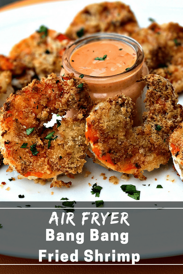 Air Fryer Bang Bang Panko Breaded Fried Shrimp is a quick and easy, healthy, low-fat seafood recipe with bread crumbs, sweet chili and Sriracha dipping sauce. This recipe makes the perfect appetizer or weeknight dinner. #AirFryer #AirFryerShrimp #Seafood