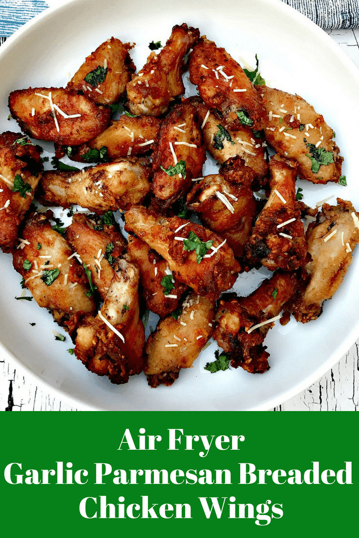 Air Fryer Garlic Parmesan Breaded Fried Chicken Wings is a quick and easy low-fat recipe for crispy and crunchy chicken wings. This recipe is the perfect air-fried buttermilk, southern fried chicken recipe and takes 20 minutes to cook. This dish can serve as an appetizer or main dish for lunch or dinner. #AirFryer #AirFryerRecipes