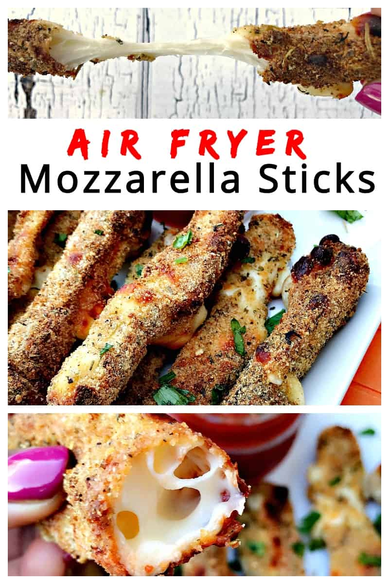 Air Fryer Low-Fat Weight Watchers Mozzarella Cheese Sticks is a quick and easy, healthy recipe with Italian breadcrumbs and gooey cheese. This recipe will show the cook time and how long to cook frozen cheese sticks. #AirFryerRecipes #AirFryerCheeseSticks
