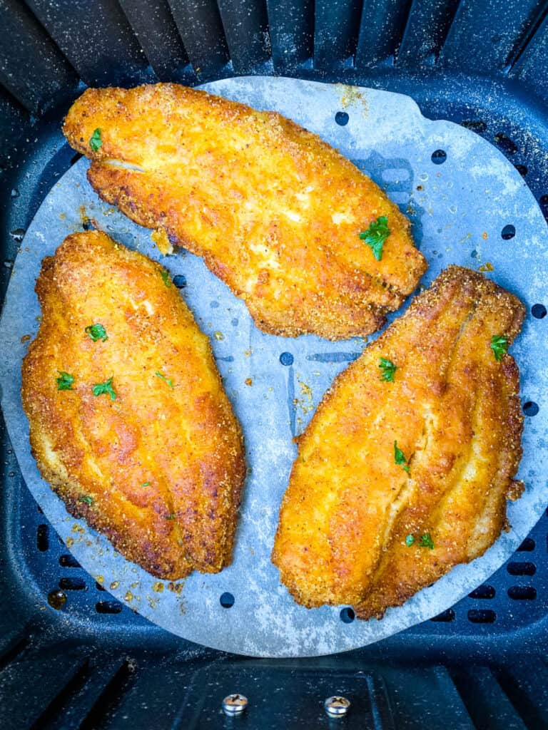 collage photo of air fryer catfish