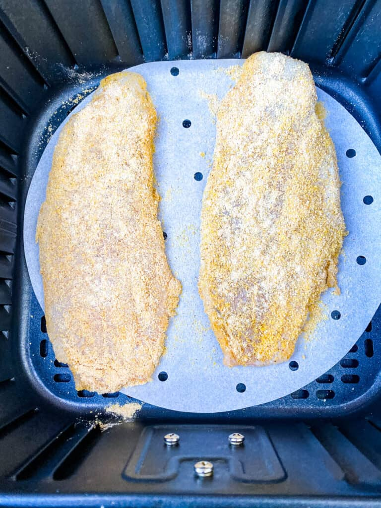 air fryer 3 ingredient fried catfish on a white plate