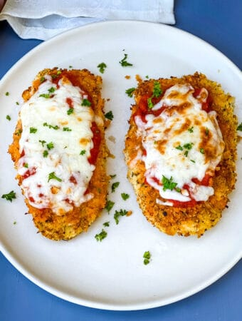 Air Fryer Panko Breaded Chicken Parmesan with Marinara Sauce