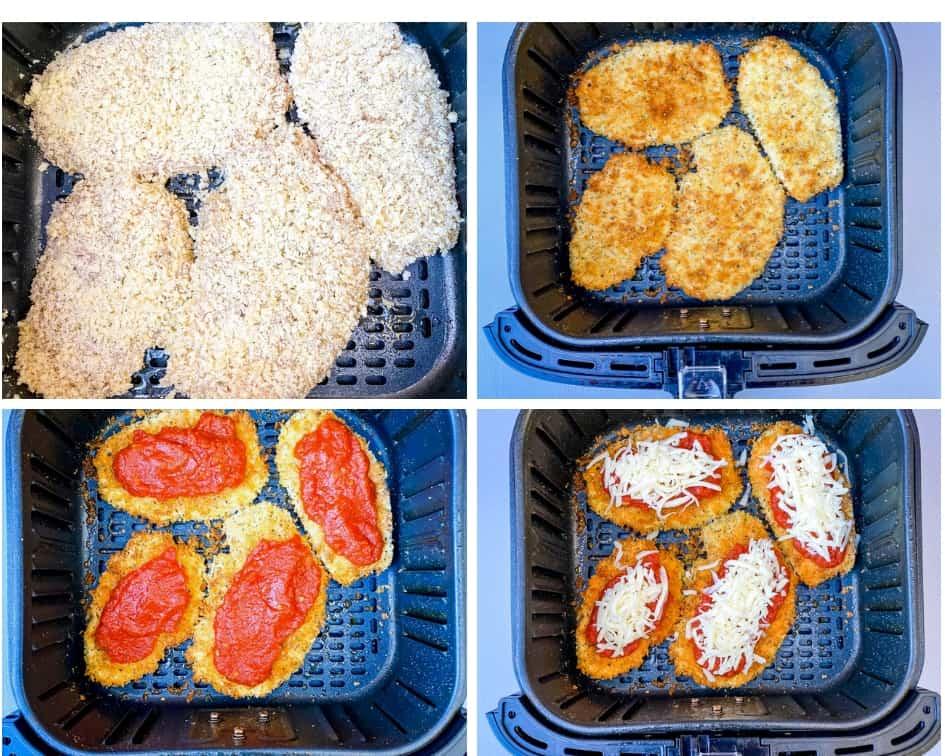 collage photo of air fryer chicken parmesan