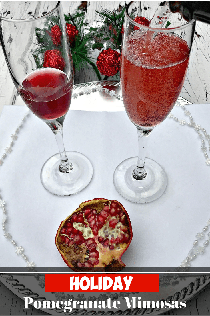 Pomegranate Holiday Mimosas Punch are the perfect easy champagne cocktail for brunch, Thanksgiving, Christmas, New Years, parties, and events. #Holiday #Cocktails #HolidayCocktails #NYE #NewYears #Champagne #Brunch #Christmas #ChristmasCocktails #Mimosas