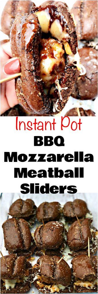 Instant Pot Mozzarella Cheese BBQ Meatball Sliders