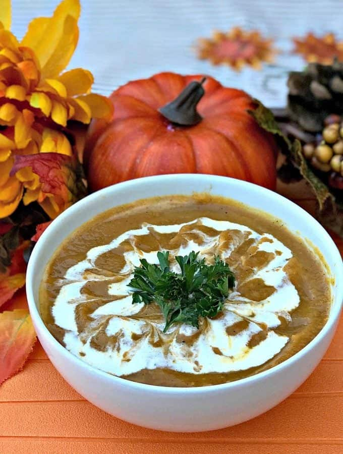 Instant Pot Pumpkin Spice and Sweet Potato Soup