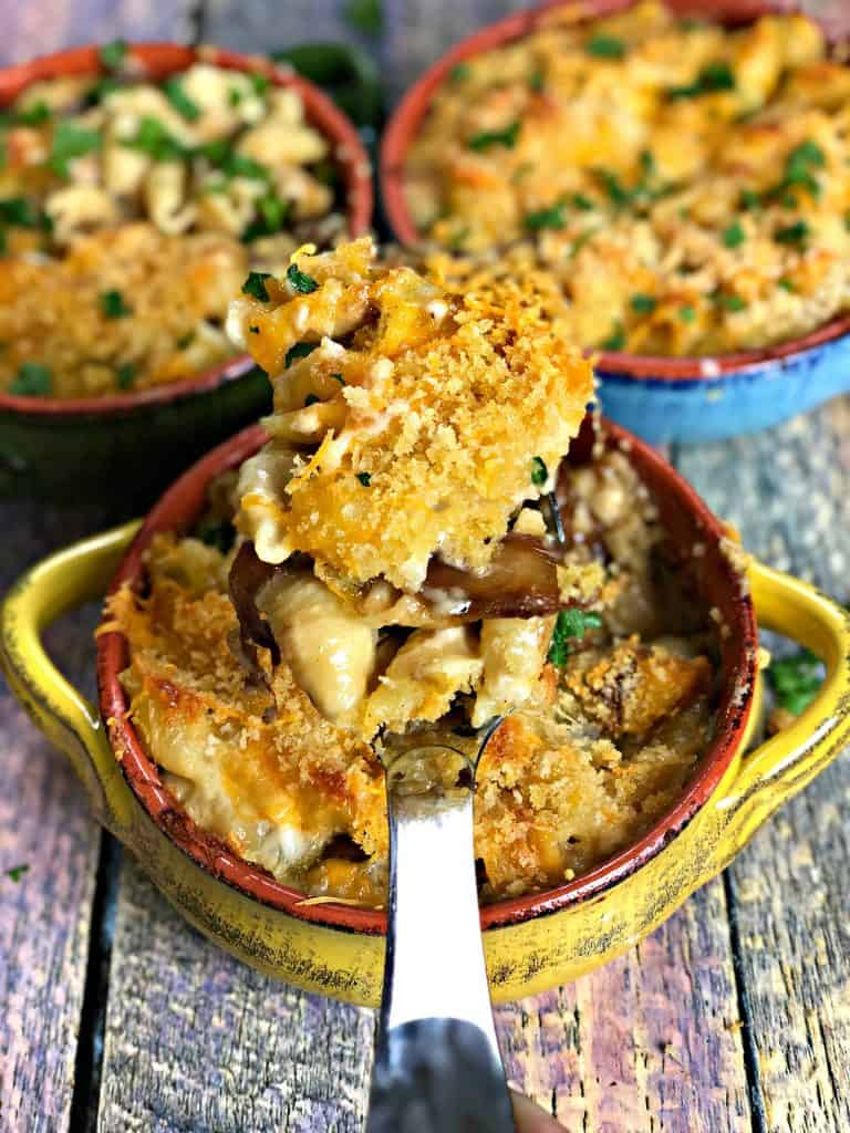 Baked Macaroni and Cheese with Caramelized Onions and Mushrooms