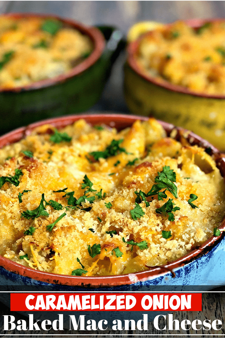 Soul Food Baked Macaroni and Cheese with Caramelized Onions and Mushrooms is a homemade recipe with crunchy panko breadcrumbs topping perfect for Thanksgiving, Christmas, and holidays. #SideDishes #SideDishRecipes #Thanksgiving #ThanksgivingRecipes #Christmas #ChristmasRecipes #HolidayRecipes #MacAndCheese #MacNCheese #SouthernFood