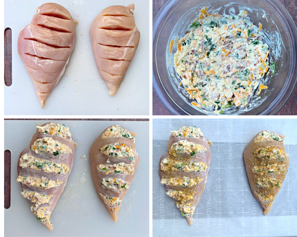 collage photo of raw chicken breasts stuffed with jalapeno popper filling