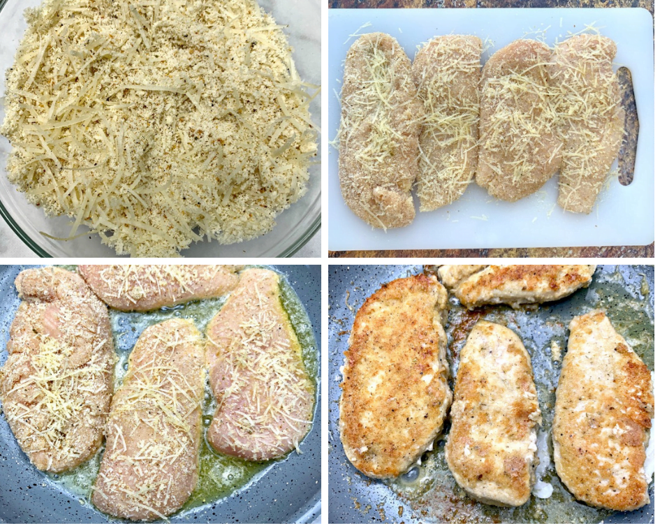 almond flour in a bowl, raw chicken breasts breaded on a cutting board and in a frying pan