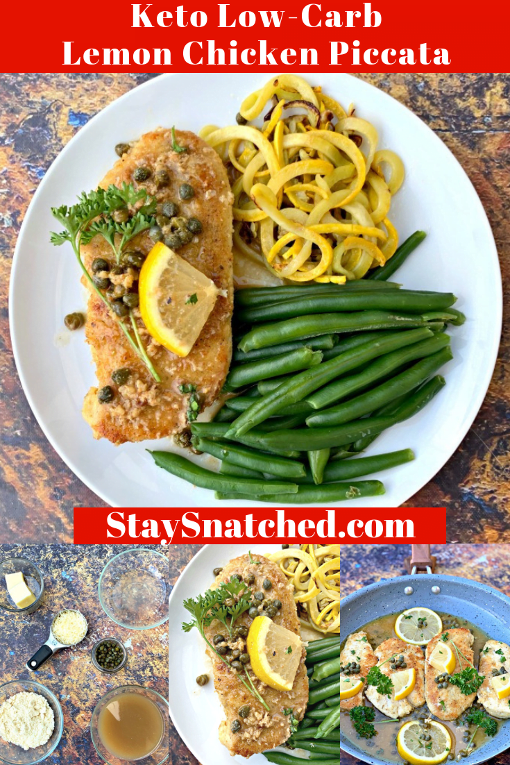 Keto Low-Carb Flourless Lemon Chicken Piccata is a quick recipe that uses almond flour, chicken cutlets, capers, and fresh lemon to make the perfect weeknight meal prep dinner! This Italian savory dish is gluten-free and made keto-style! Add in artichokes if you wish! #KetoRecipes #KetoLemonChicken